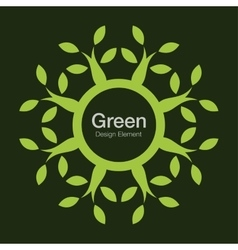 Green tree round bio icon eco organic logo vector