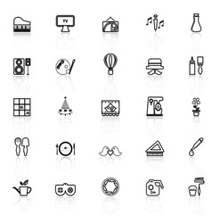 Art activity line icons with reflect on white vector