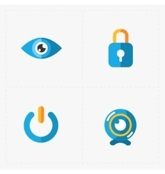 Four Colorful flat social icons set on White vector image