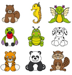 Set of different cute animals vector