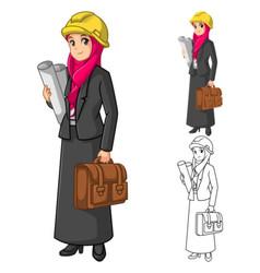 Muslim Businesswoman Architect Wearing Pink Veil vector image