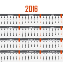 Calendar for 2016 week starts on monday vector