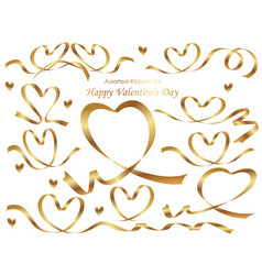 a set of heart shaped gold ribbons vector image