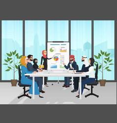 Arab muslim business people group presentation in vector