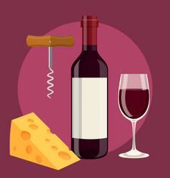 Bottle glass of wine cheese and corkscrew vector
