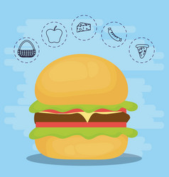 burger for family summer picnic vector image