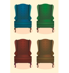 Chair realistic icon set four identical chairs vector