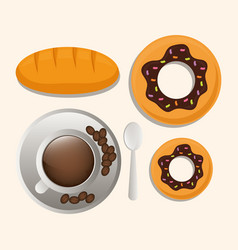 coffee cup bread dessert breakfast food vector image vector image