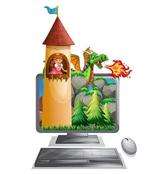 Computer screen with princess in the tower vector image vector image