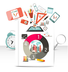 Creative infographic items school and technology vector