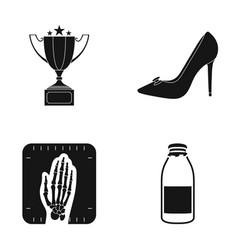 Cup female shoes and other web icon in black vector