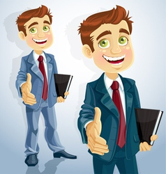 cute businessman gives his hand to greet vector image