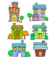 Doodle of house set colorful art vector