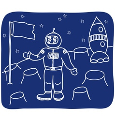 Drawing of an astronaut on the planet vector image vector image
