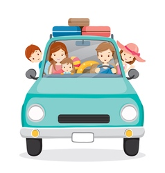 Family on car driving to travel vector