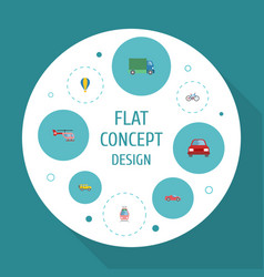 flat icons automobile streetcar chopper and vector image vector image