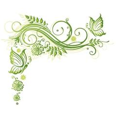 floral elements butterflies vector image vector image