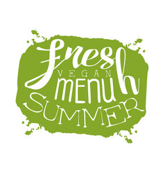 Fresh summer menu green label vector