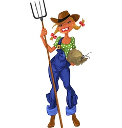 Girl shepherdess with agricultural implements vector image
