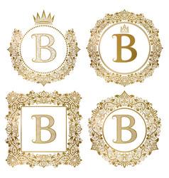 Golden letter b vintage monograms set heraldic vector