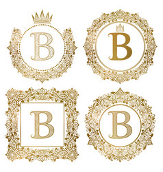 golden letter b vintage monograms set heraldic vector image