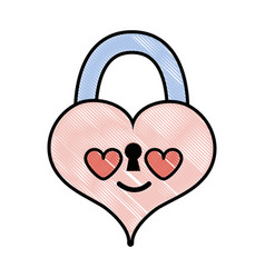 Grated heart padlock in love kawaii personage vector