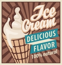 ice cream in retro style vector image vector image