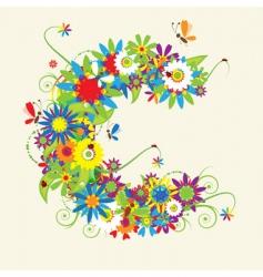 letter C floral design vector image vector image