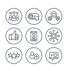 Likes followers hearts rating line icons vector