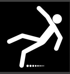 man slip fall white color icon vector image