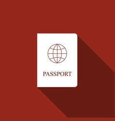 Passport flat icon with long shadow vector