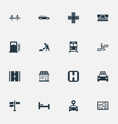 Set of simple urban icons vector