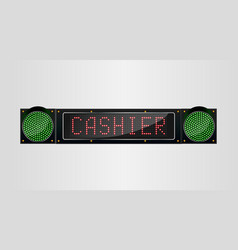 Shining retro light banner cashier sign on a black vector