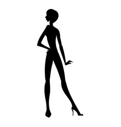 silhouette of young beautiful girl posing with vector image vector image