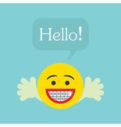 Smiley face emoticon icon with Hello speech bubble vector image vector image