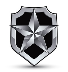 Sophisticated blazon with a silver star emblem vector