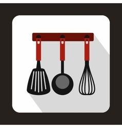 Spatula ladle and whisk kitchen tools icon vector image vector image