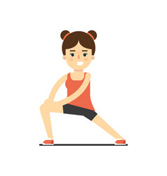 Sporty smiling girl in sportswear stretching vector