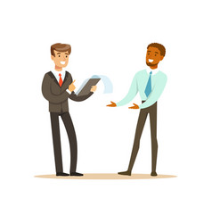 two businessmen discussing new project in office vector image