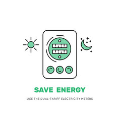 Two-tariff electric meter save money vector