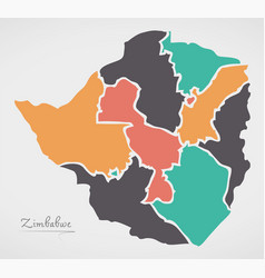 Zimbabwe map with states and modern round shapes vector