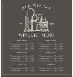 Wine menu price vector image