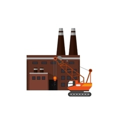 Factory and mobile crane icon vector