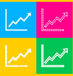 growing bars graphic sign four styles of icon on vector image