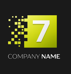 number seven symbol in the colorful square vector image