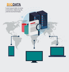 big data technology device global search vector image