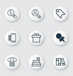 Set of 9 ecommerce icons includes bookshelf vector