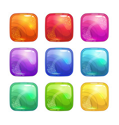 Cartoon colorful square glossy buttons set vector