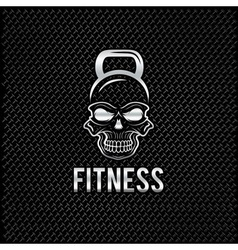 Silver skull in the form of kettlebell fitness vector