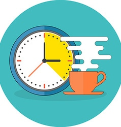 Coffee time concept flat design icon in turquoise vector